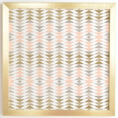 'Metallic Triangles' by Georgiana Paraschiv Framed Graphic Art Frame Color: Gold, Size: 12