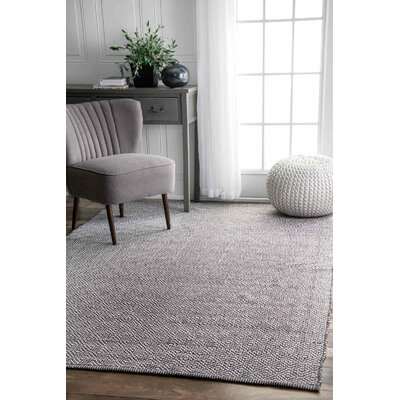 Burnette Hand-Woven Gray Area Rug Rug Size: Rectangle 10 x 14