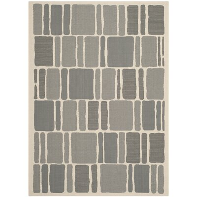 Blocks Beige/Anthracite Area Rug Rug Size: 53 x 77