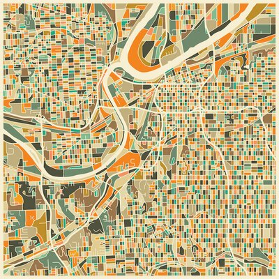 Abstract City Map of Kansas City Graphic Art on Wrapped Canvas Size: 12
