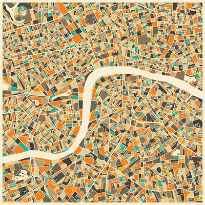 Abstract City Map of London Graphic Art on Wrapped Canvas Size: 12