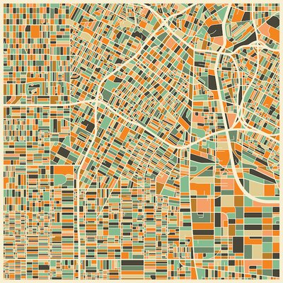 Abstract City Map of Los Angeles Graphic Art on Wrapped Canvas Size: 12