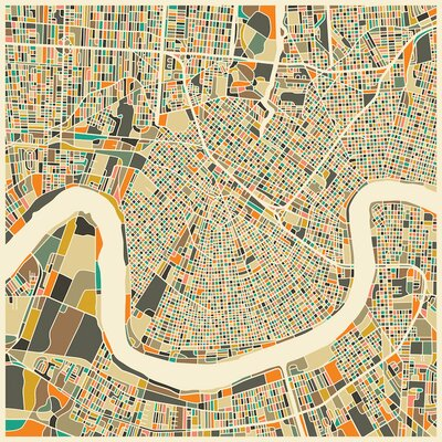 Abstract City Map of New Orleans' Graphic Art on Wrapped Canvas
