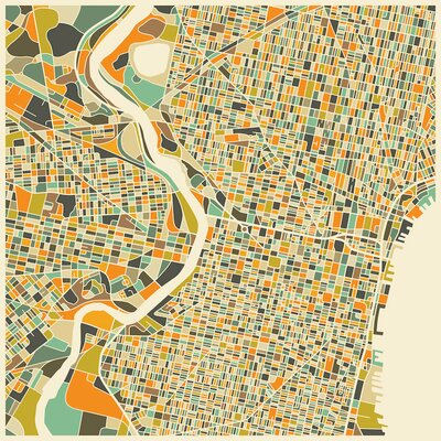 Abstract City Map of Philadelphia Canvas Art