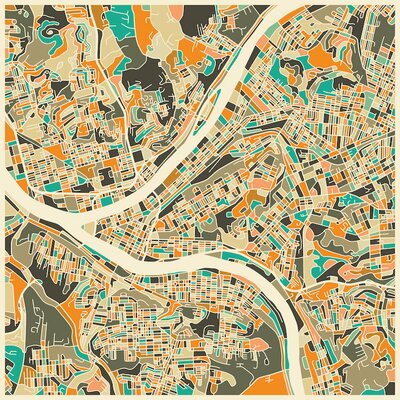 Abstract City Map of Pittsburgh Graphic Art on Wrapped Canvas Size: 12