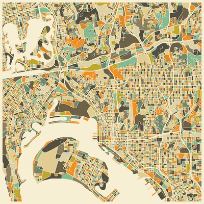 Abstract City Map of San Diego Graphic Art on Wrapped Canvas