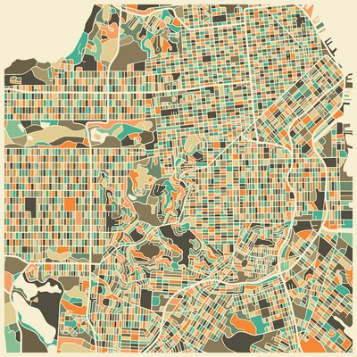 Abstract City Map of San Francisco Graphic Art on Wrapped Canvas Size: 12