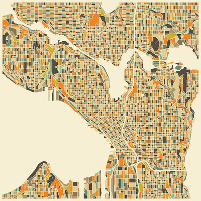 Abstract City Map of Seattle Graphic Art on Wrapped Canvas Size: 12