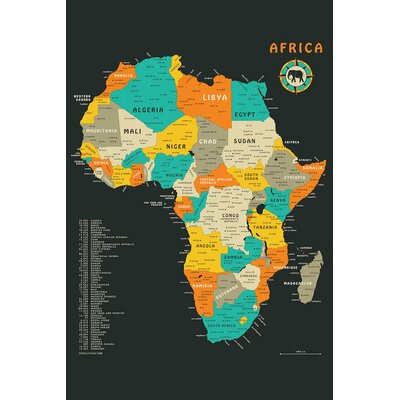 Africa Map Graphic Art on Wrapped Canvas Size: 12