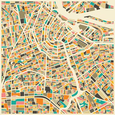 Abstract City Map of Amsterdam Graphic Art on Wrapped Canvas Size: 12