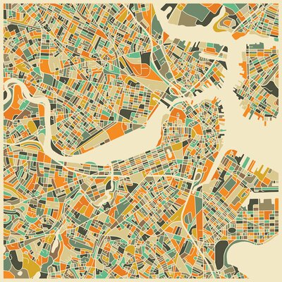 Abstract City Map of Boston Graphic Art on Wrapped Canvas Size: 12