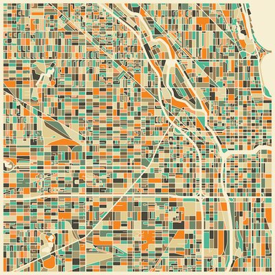 Abstract City Map of Chicago Graphic Art on Wrapped Canvas Size: 12