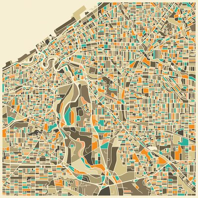 Abstract City Map of Cleveland Graphic Art on Wrapped Canvas Size: 12