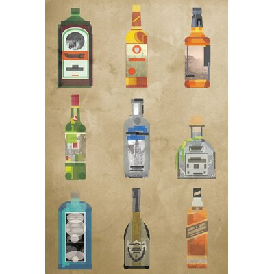 Langley Street Liquor Bottles' Graphic Art on Wrapped Canvas