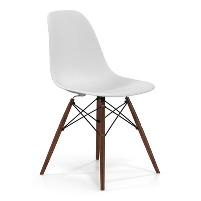 Brook Modern Solid Wood Dining Chair Color: White Walnut