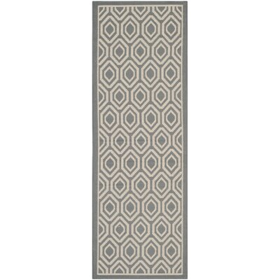 Miami Anthracite / Beige Indoor / Outdoor Area Rug Rug Size: Runner 27 x 5