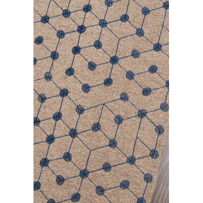 Oasis Hand-Woven Brown/Blue Area Rug Rug Size: 36 x 56