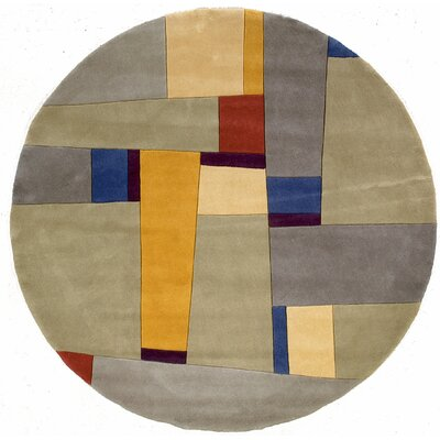 Sunny Springs Hand-Tufted Gray Area Rug Rug Size: Round 5'9