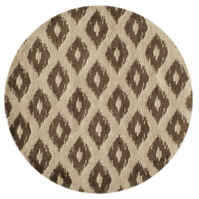 Curtis Hand-Tufted Khaki Area Rug Rug Size: Round 4