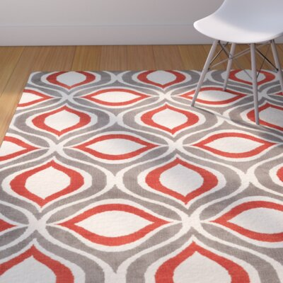 Patricio Hand-Tufted Beige/Gray/Red Area Rug Rug Size: Rectangle 8' x 10'