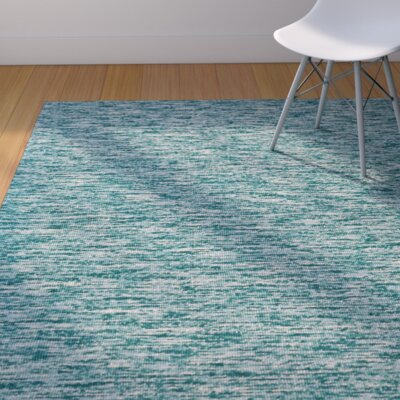 Estio Hand Tufted Teal Area Rug Rug Size: 8 x 11