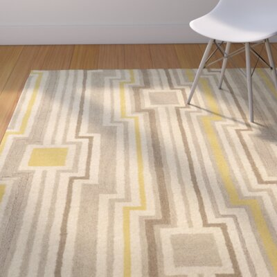 Patnode Hand-Tufted Beige/Gray/Yellow Area Rug Rug Size: Rectangle 5 x 8