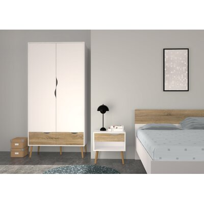 Mateer 2 Drawer and 2 Door Armoire Finish: White/Oak