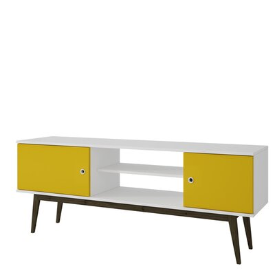 Nueva Vista TV Stand Color: White/Yellow