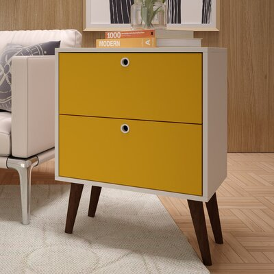 Azalea 2 Drawer Nightstand Color: White/Yellow