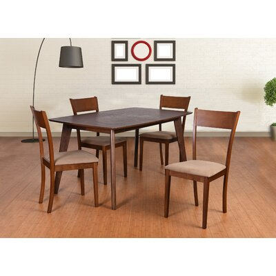 Roosevelt 5 Piece Dining Set Upholstery: Brown
