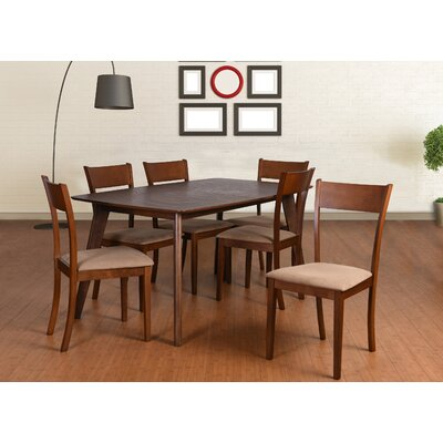 Roosevelt 7 Piece Dining Set Upholstery: Brown