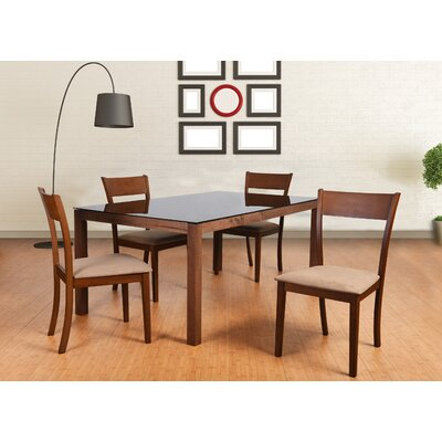 Roosevelt 5 Piece Rectangular Dining Set Upholstery: Brown