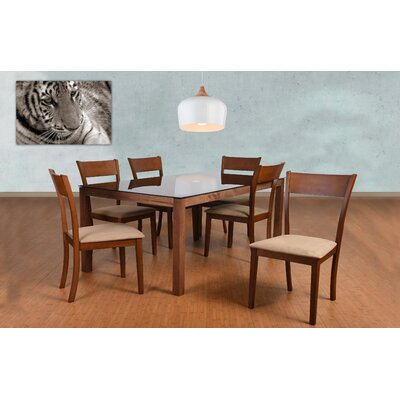 Roosevelt 7 Piece Rectangular Dining Set Upholstery: Brown