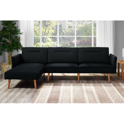 Fresno Reversible Sectional Upholstery: Black