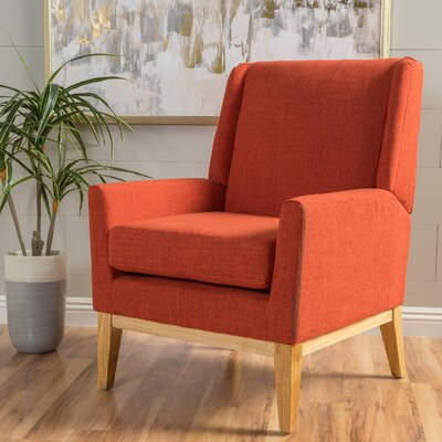 Hierry Wingback Armchair Upholstery: Orange