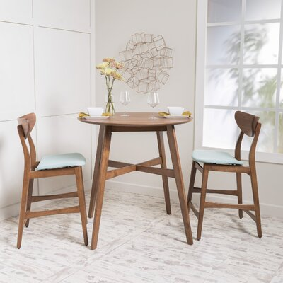 Santa Cruz 3 Piece Counter Height Dining Set Upholstery: Mint