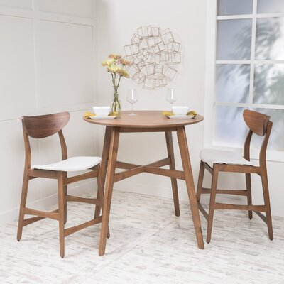 Santa Cruz 3 Piece Counter Height Dining Set Upholstery: Light Beige
