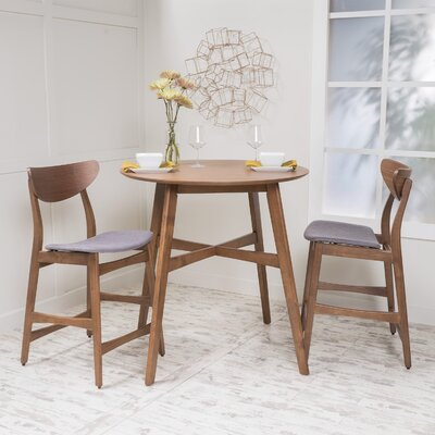 Santa Cruz 3 Piece Counter Height Dining Set Upholstery: Dark Gray