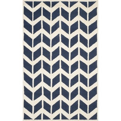 Esperance Navy / Ivory Area Rug Rug Size: Rectangle 5 x 8