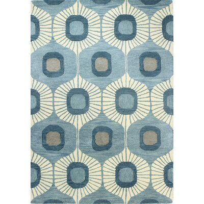 Ashland Blue Geometric Wool Hand-Tufted Area Rug
