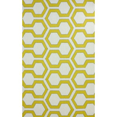 Escondido Hand-Hooked Wool Gold Area Rug Rug Size: Rectangle 5 x 8