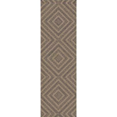 Berkeley Hand-Hooked Taupe/Black Area Rug Rug size: Runner 26 x 8