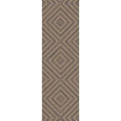 Berkeley Hand-Hooked Taupe/Black Area Rug Rug size: Runner 26 x 8