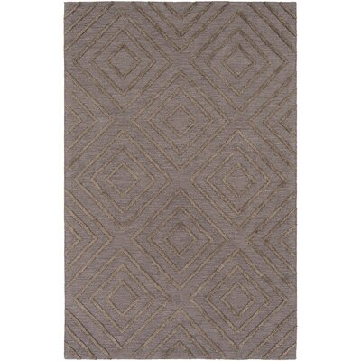 Berkeley Hand-Hooked Taupe/Black Area Rug Rug size: 6 x 9