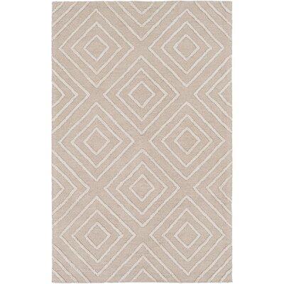 Berkeley Hand-Hooked Khaki/Ivory Area Rug Rug size: 5 x 8