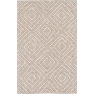 Berkeley Hand-Hooked Khaki/Ivory Area Rug Rug size: 6 x 9
