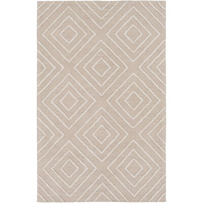 Berkeley Hand-Hooked Khaki/Ivory Area Rug Rug size: 12 x 15
