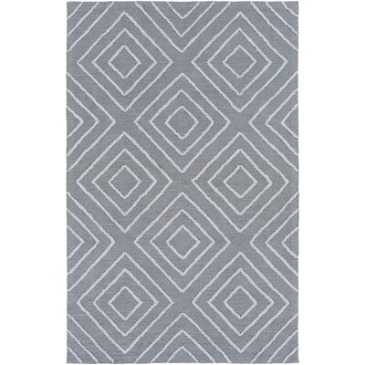 Berkeley Hand-Hooked Teal/Pale Blue Area Rug Rug size: 5 x 8
