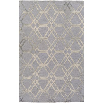 Viminal Hand-Hooked Medium Gray Area Rug Rug size: 9 x 13