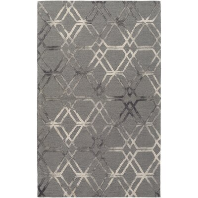 Viminal Hand-Hooked Medium Gray Area Rug Rug size: 5 x 76